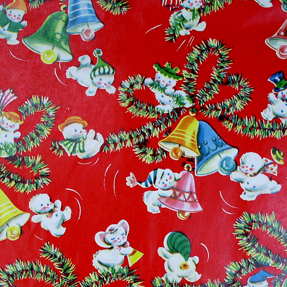 Teeny Snowmen  -  Vintage Christmas Gift Wrap Wrapping Paper