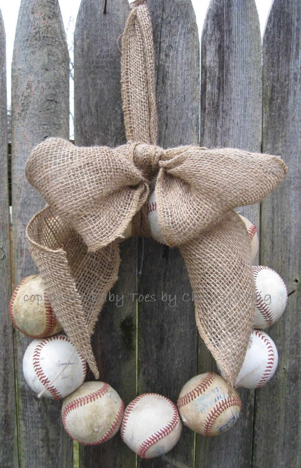 Burlap Baseball Love Wreath - 1BabyToes1