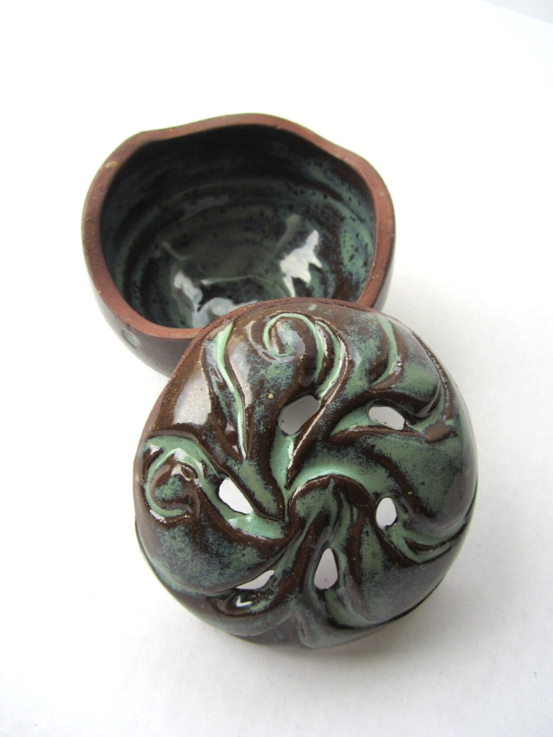 Hand Carved Decorative Ceramic Lidded Pot - Incense Holder