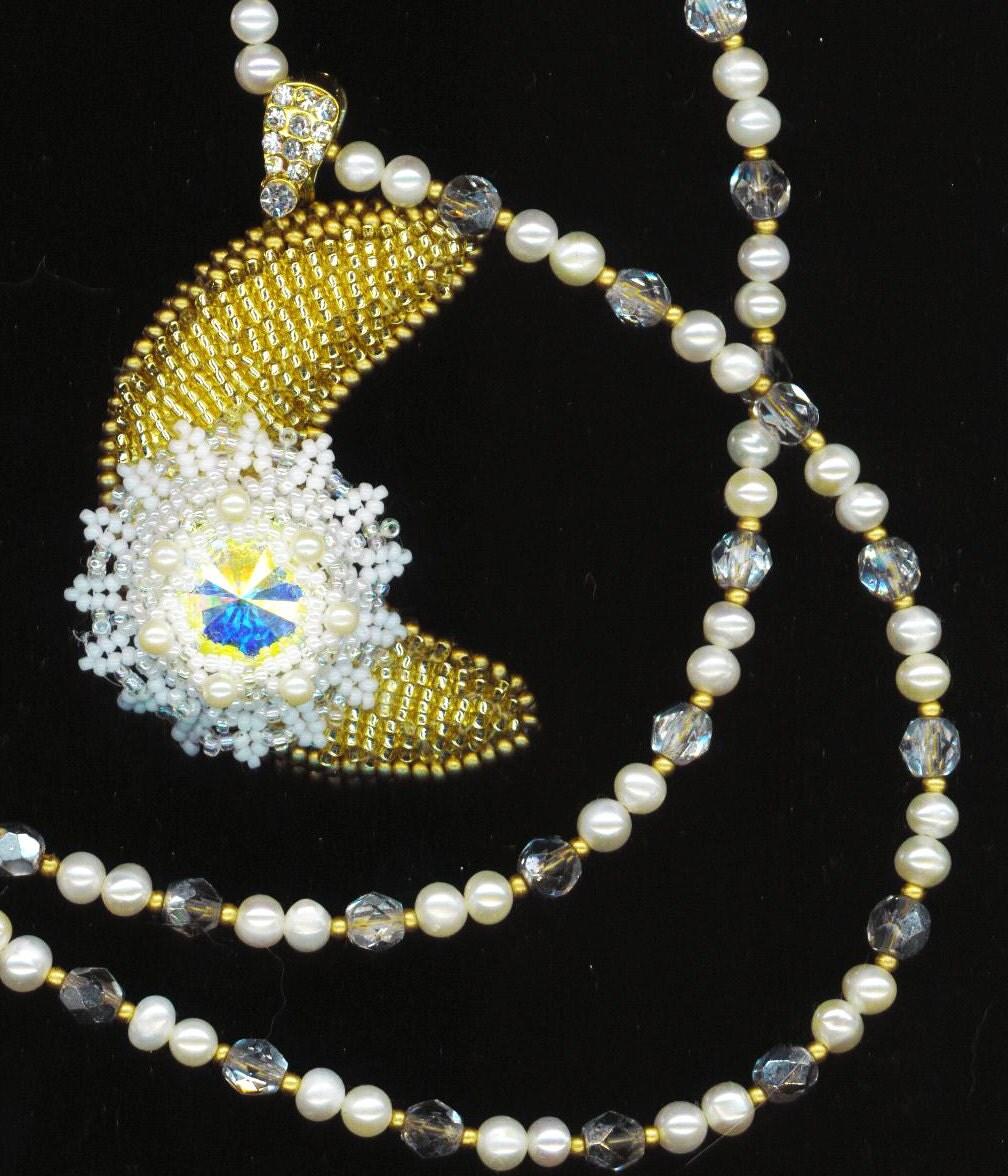 MoonBeams Pendant . Beadwoven Moon Necklace . Swarovski Rivoli Flower . Genuine Pearls . OOAK -  A Lunar Obsession by enchantedbeads on Etsy - enchantedbeads
