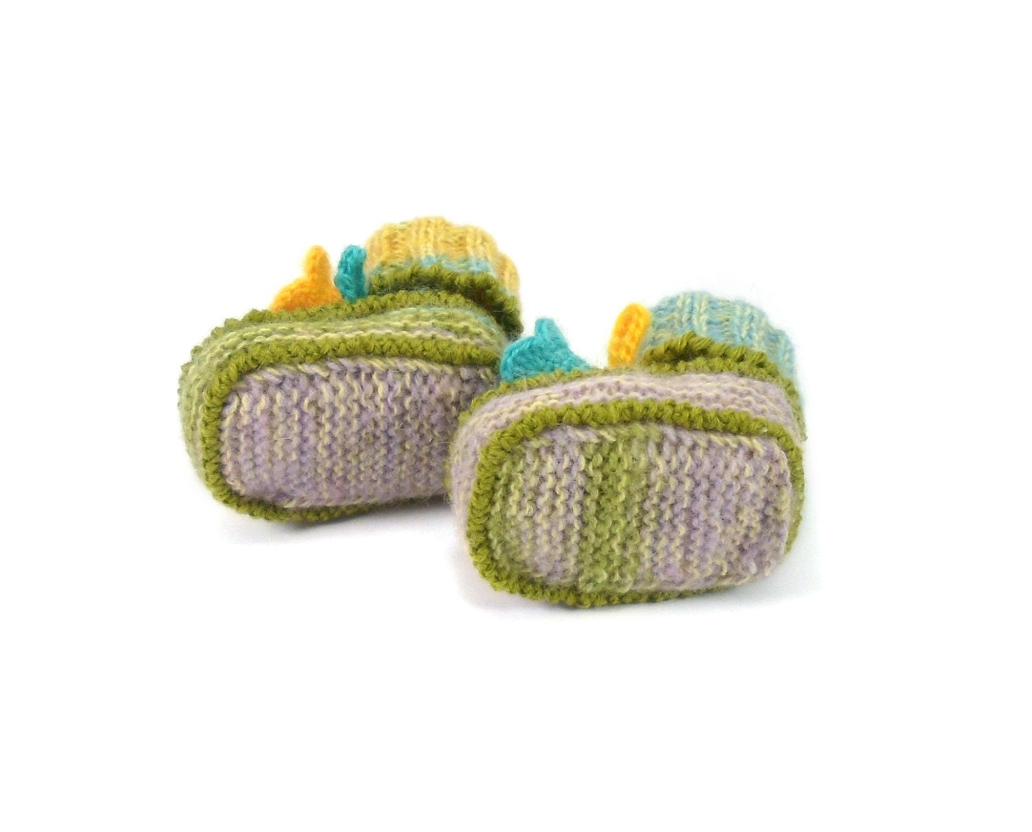 Knitted Baby Booties with Crochet Bell Flowers, Pastel Colors, 3 - 6 months