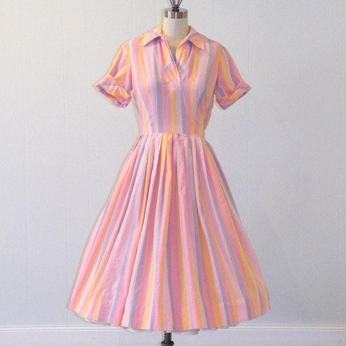 50s Shirtwaist Dress / 1950s Dress, Pink Pastel Striped Cotton Day Dress, Pleated Full Skirt Rockabilly, Kay Windsor, 40B 26W