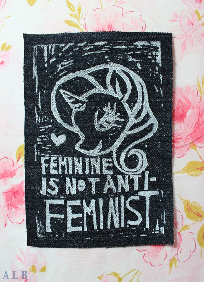 DENIM Feminine Is Not Anti-Feminist Patch featuring Rarity- My Little Pony