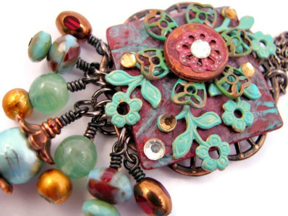 Inspirational Collage Chatelaine Style Necklace Altered Metal Polymer Clay Assemblage - Aqua Green Red - ChickieGirlCreations