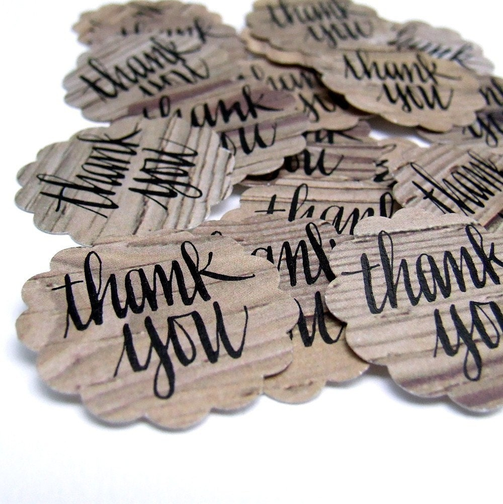Weathered Wood Thank You Stickers, 20 hand lettered stickers handwritten by KisforCalligraphy