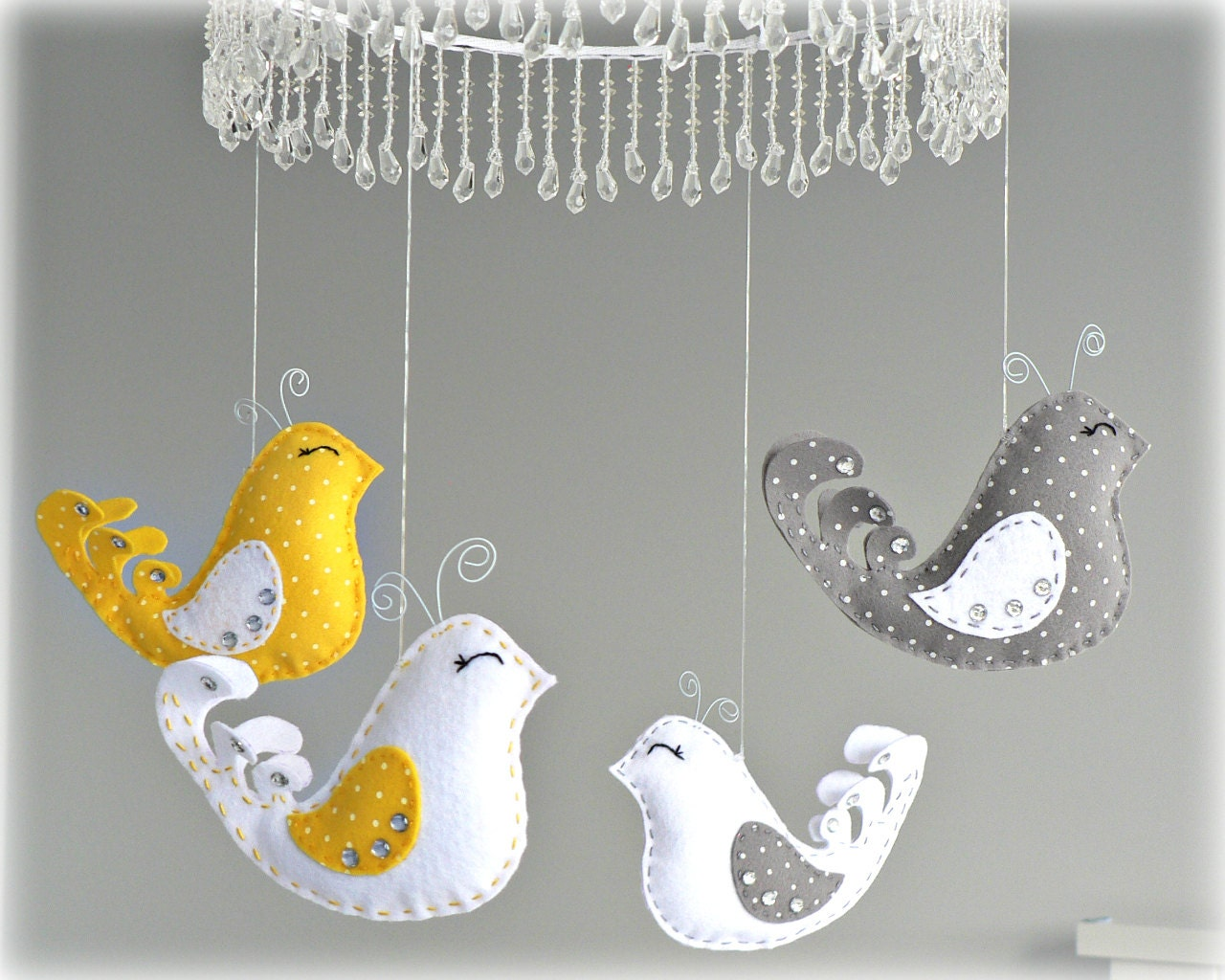Bird mobile - baby mobile - You pick your colors - yellow, gray and white - polka dot felt - nursery decor - LullabyMobiles