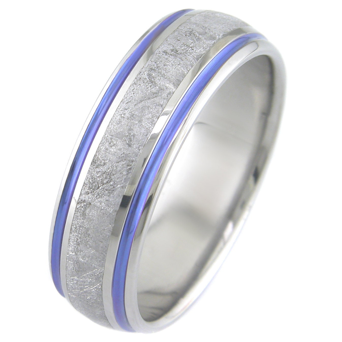 Meteorite with Twin Color Stripes Titanium Ring
