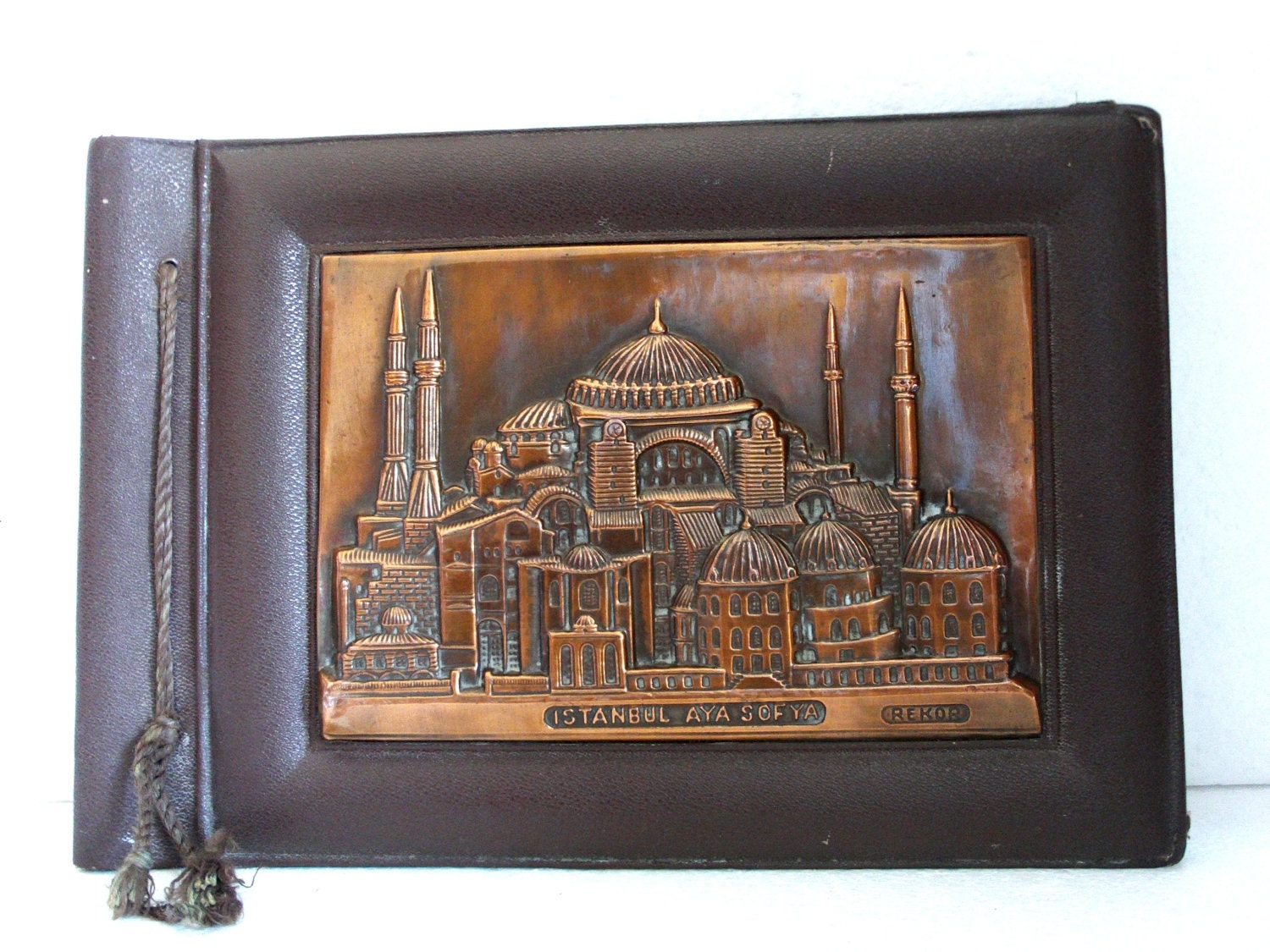 Old Photo ALBUM ornate COPPER relief PLAQUE 3D Hagia Sophia Istanbul - Hard binding - Hammered metal book cover - Scrapbooking storage - cabinetocurios