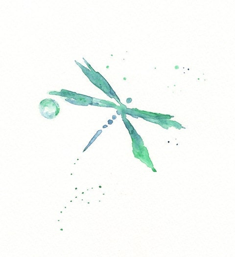 Beauty Fly/Dragon Fly/teal, green, blue dragonfly watercolor/8x10 Print
