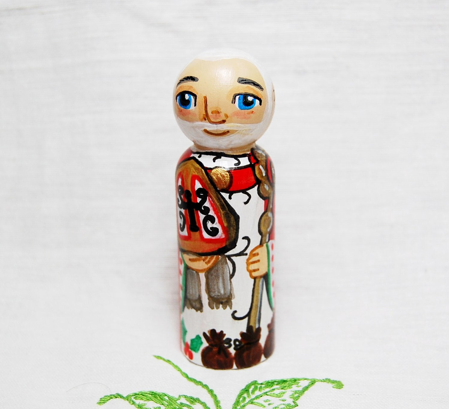 Catholic Saint Doll Toy - St Nicholas - Wooden Peg Doll - Made to Order