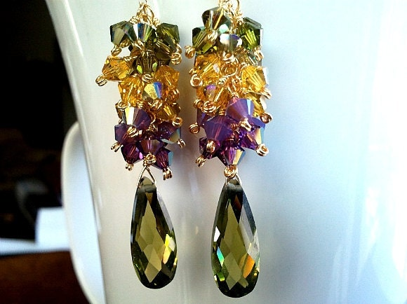 Spring Collection Olive Green Gold  Earrings