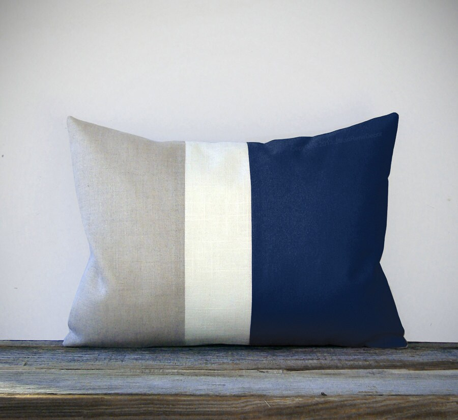 Navy Blue Color Block Decorative Pillow with Cream and Natural Linen Stripes by JillianReneDecor Spring Home Decor Striped Nautical - JillianReneDecor