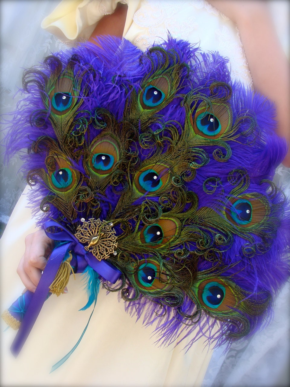 image ivyndell peacock feather bouquet purple green blue
