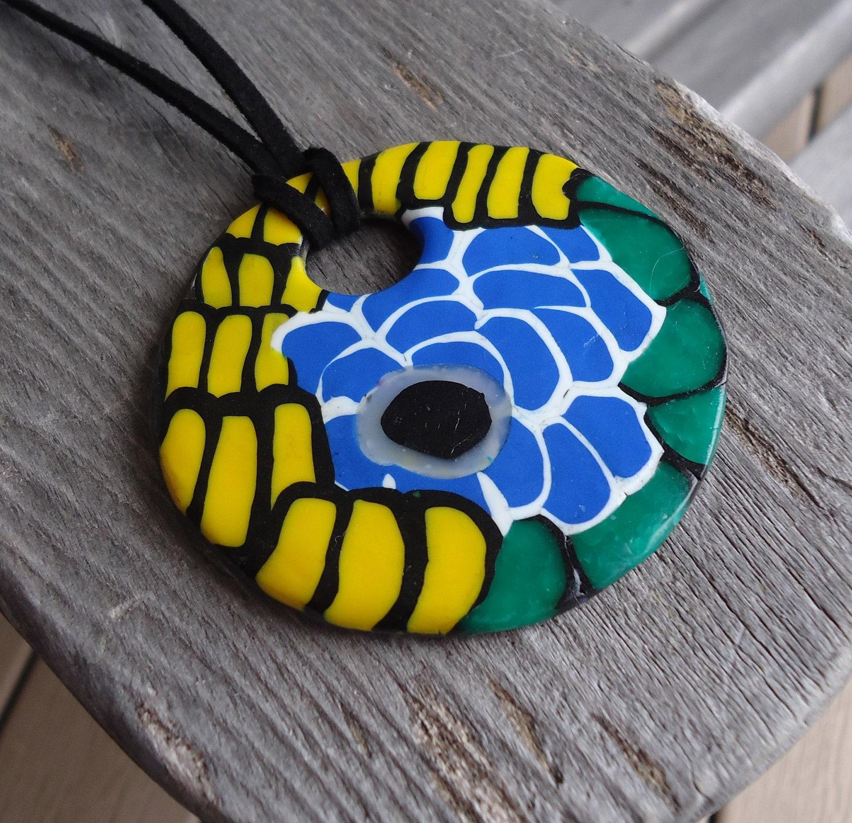 OOAK Handmade Polymer Clay Pendant - Sallybateau