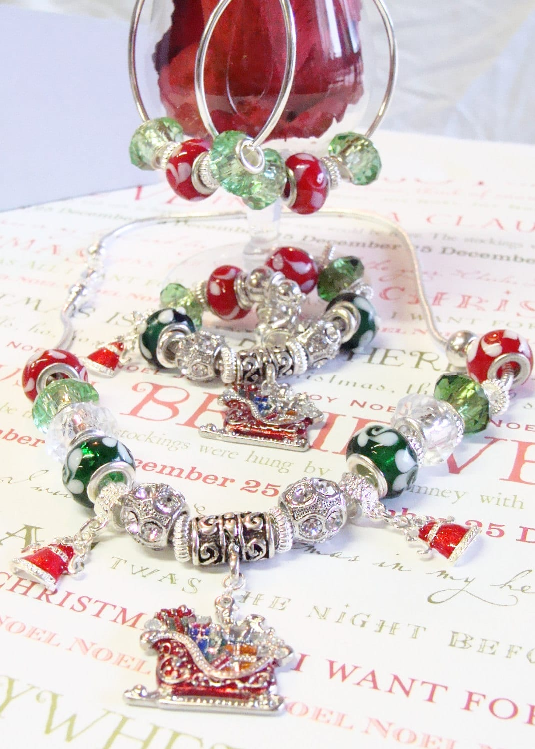 Christmas Hoop Earrings with Pandora Style Beads