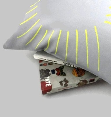 Pillow Cover Gray and Yellow Lines Sunshine 17 x 17 inches - SacredandProfane
