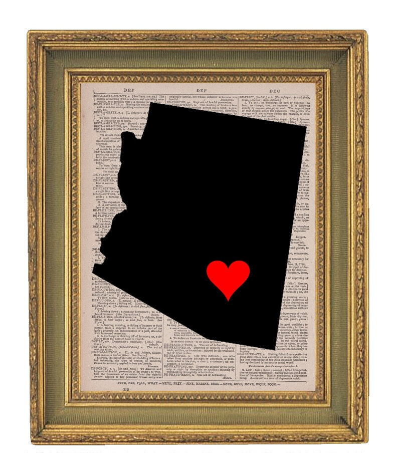 Arizona Map Love Vintage Book Print 8x10