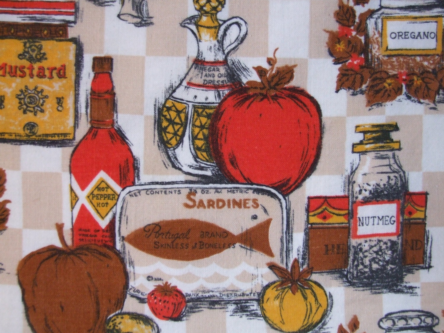 Fabric - Sardines, nutmeg, and oregano