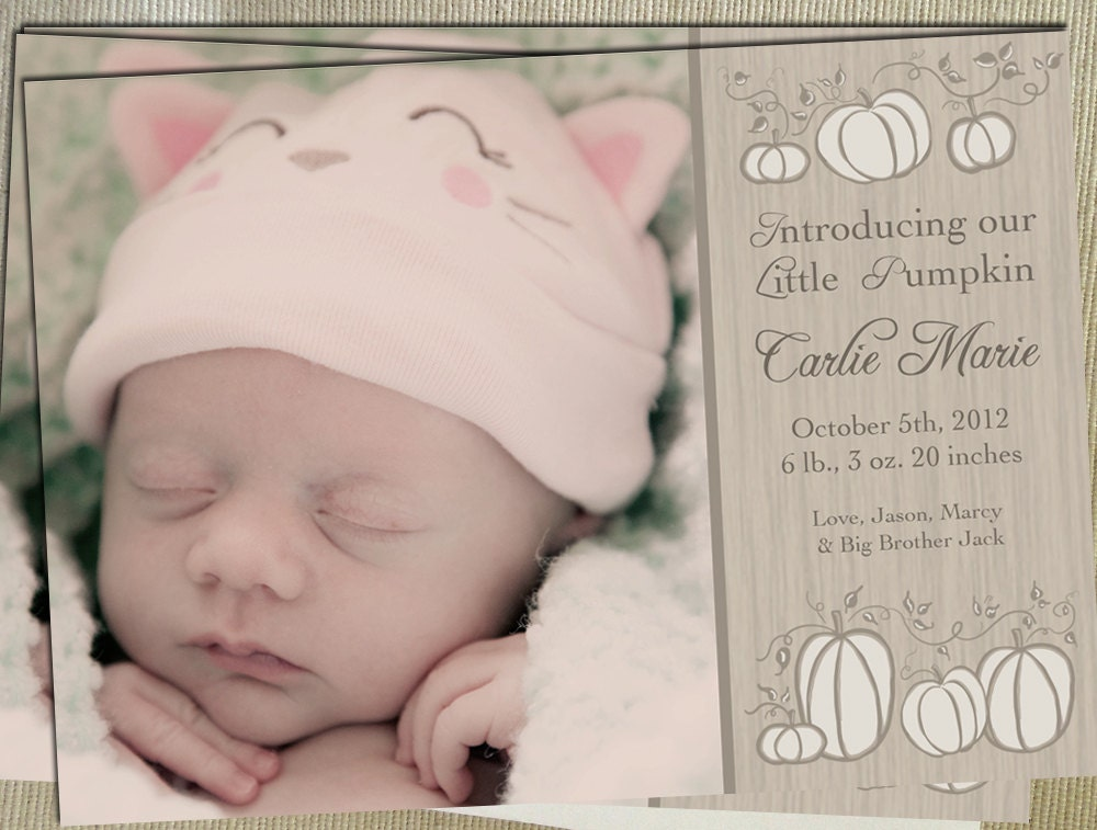 Printable Birth Announcement - Little Pumpkin - White