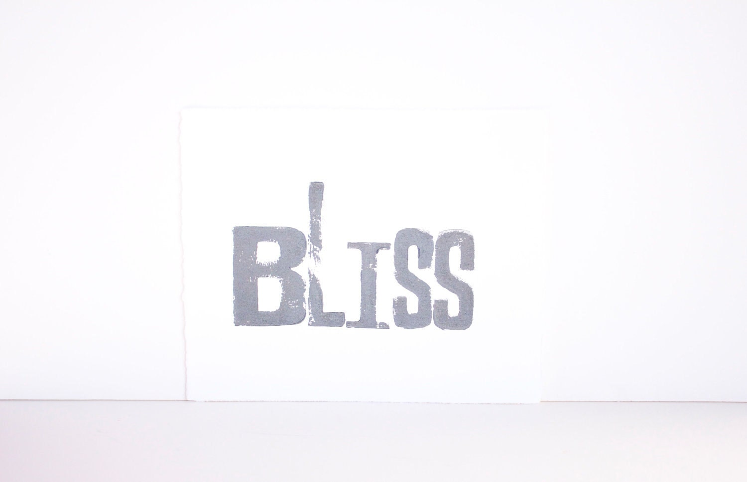 Typography Block Print - BLISS in GRAY Woodblock 8x10 on white paper - RetroModernArt