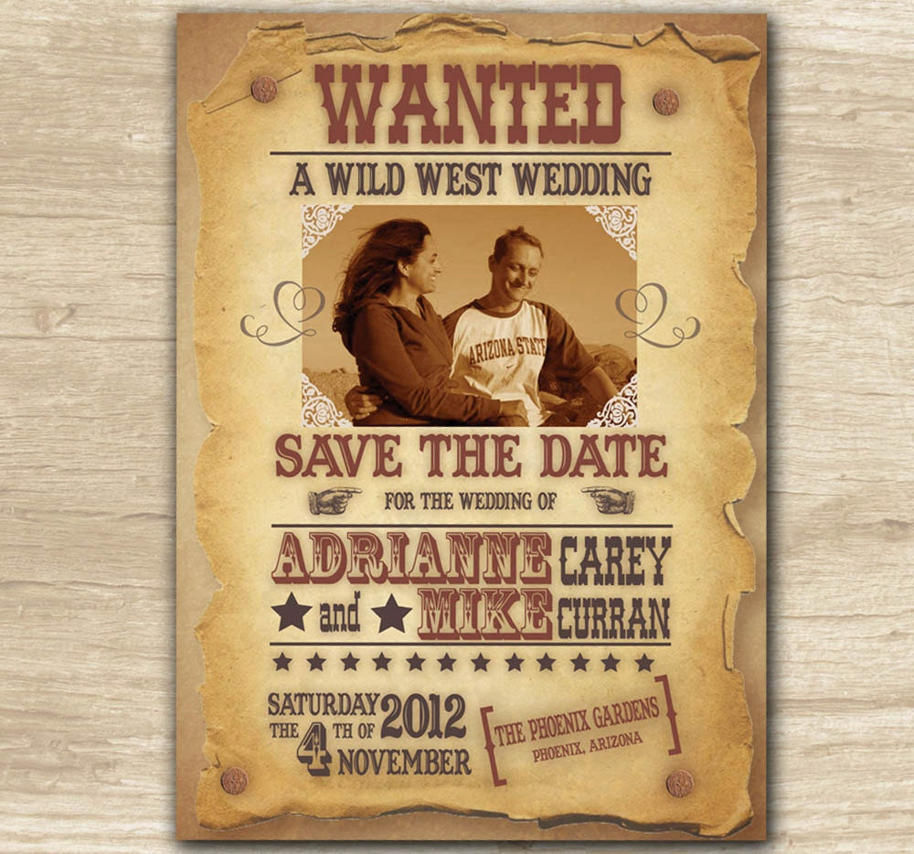 Custom Wild West Western Wanted Poster Save the Date Invitation – Sample Wanted Poster