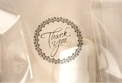 20 THANK YOU Transparent Stickers - 2Color, 30mm x 30mm