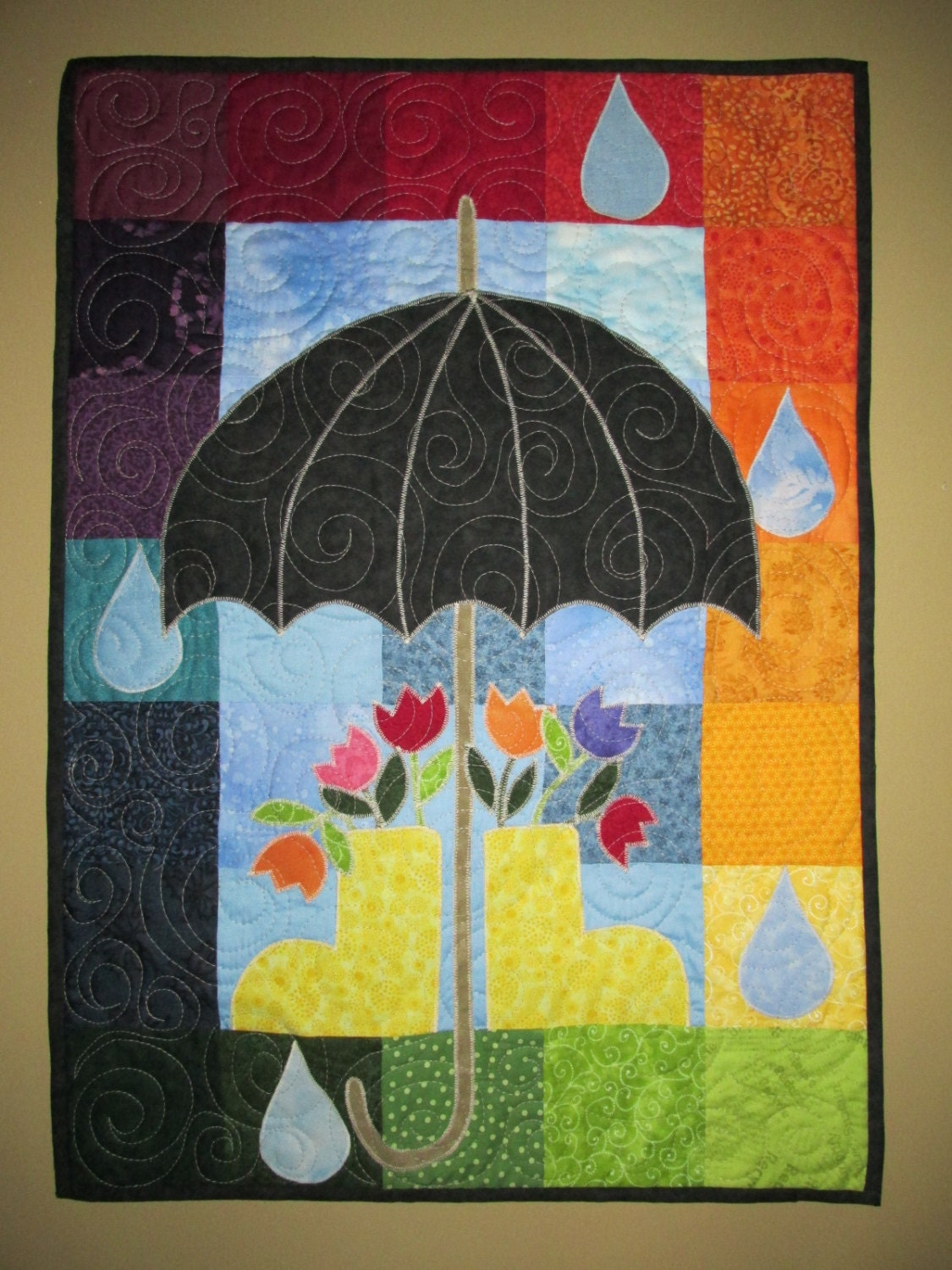 April Showers Quilted Wall Hanging