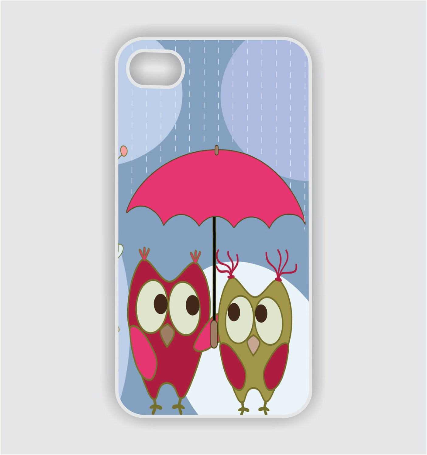 iPhone 4 Case - Owls Under Umbrella - iPhone 4 Case - iPhone Case, iPhone 4s Case, Cases for iPhone 4, Hard iPhone 4 Case (i1018) - CreateItYourWay