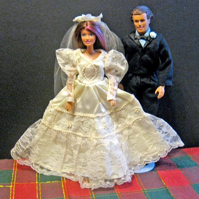 Barbie Clothes Ivory Wedding Dress and Black Tuxedo Set