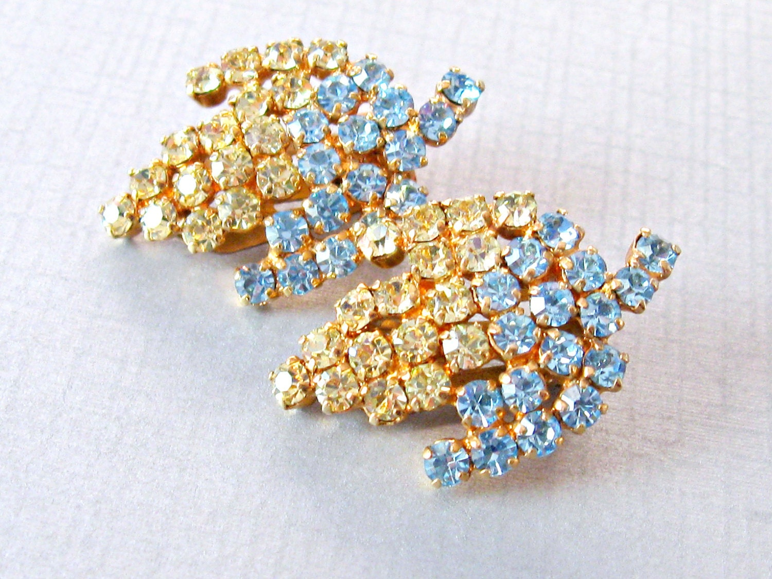 Vintage Signed Austria Floral Rhinestone Earrings - vintagepaige