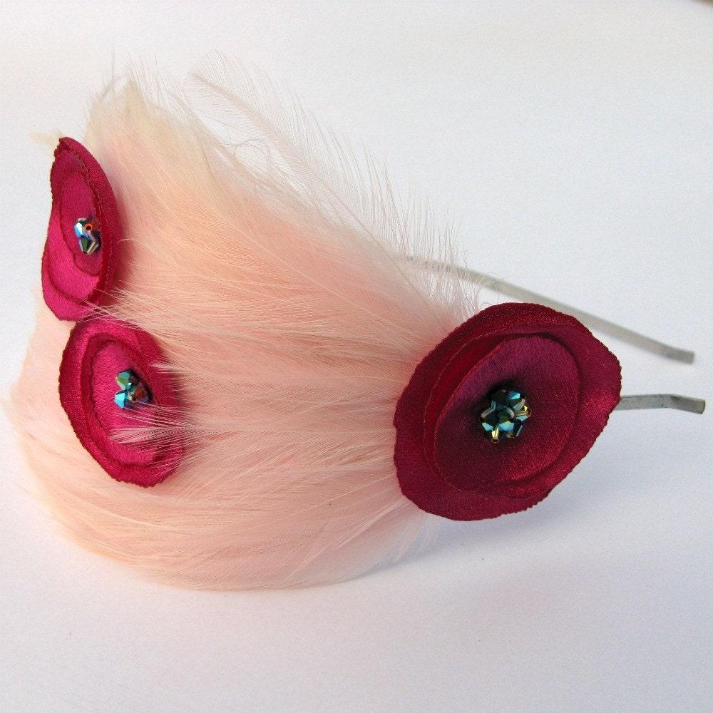 Новые девушки Розовая пудра перо головная повязка малышей Детские Цветы ручной