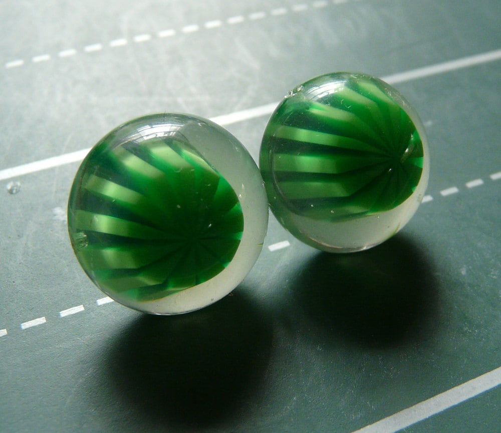 green jello earrings - vintage plastic