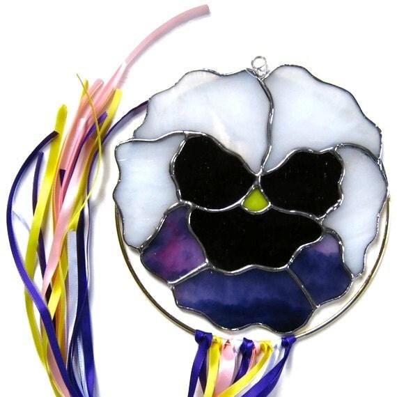 pansy suncatcher, stained glass, windcatcher, purple, white