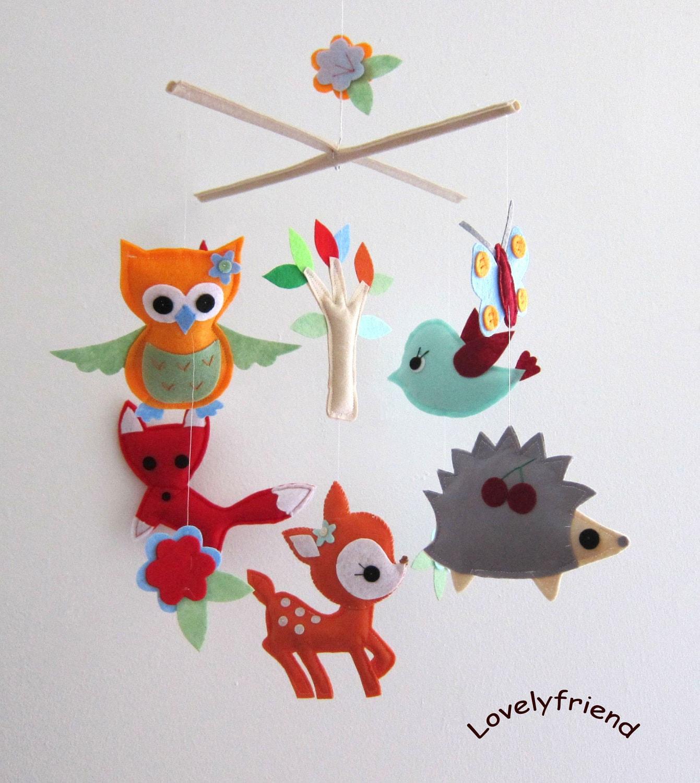 """Baby Crib Mobile - Baby Mobile - Felt Mobile - Nursery mobile - """" Woodland deer, fox, owl ,bird, hedgehog"""" design (Custom Color Available) - lovelyfriend"""