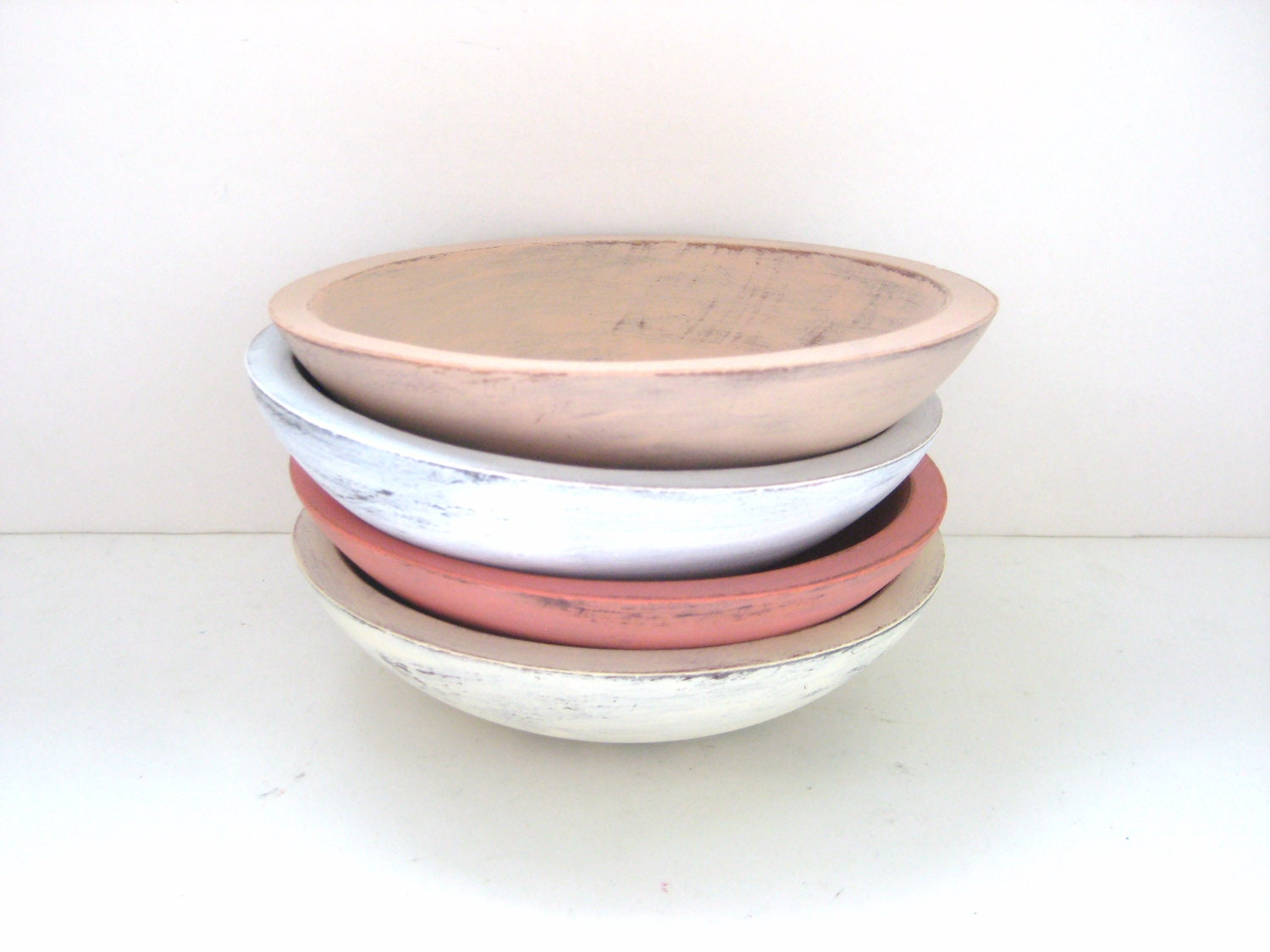 Storage Bowls - Shabby Chic Pretty - Set of 4 - Soft Colours - GreenFoxStudio