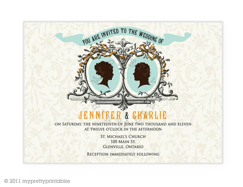Cameo Couple Wedding invitation Vintage Style Wedding DIY printable file