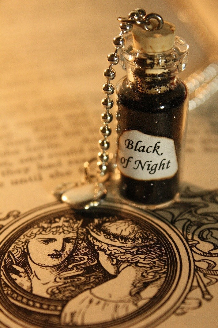 Glass Vial Necklace - Fairy Tale Inspired - Snow White's Black of Night