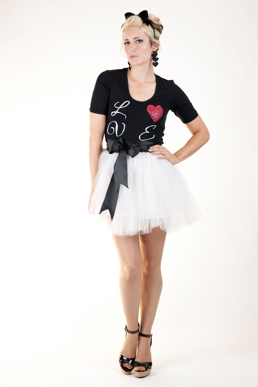 The Josephine Ivory Tulle Tutu Mini Skirt with Black Satin Sash Custom - darkponydesigns