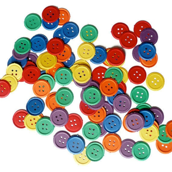 100 Embossed Pastel Paper Buttons/ Punched Die Cut Embellishments in Easter Colors