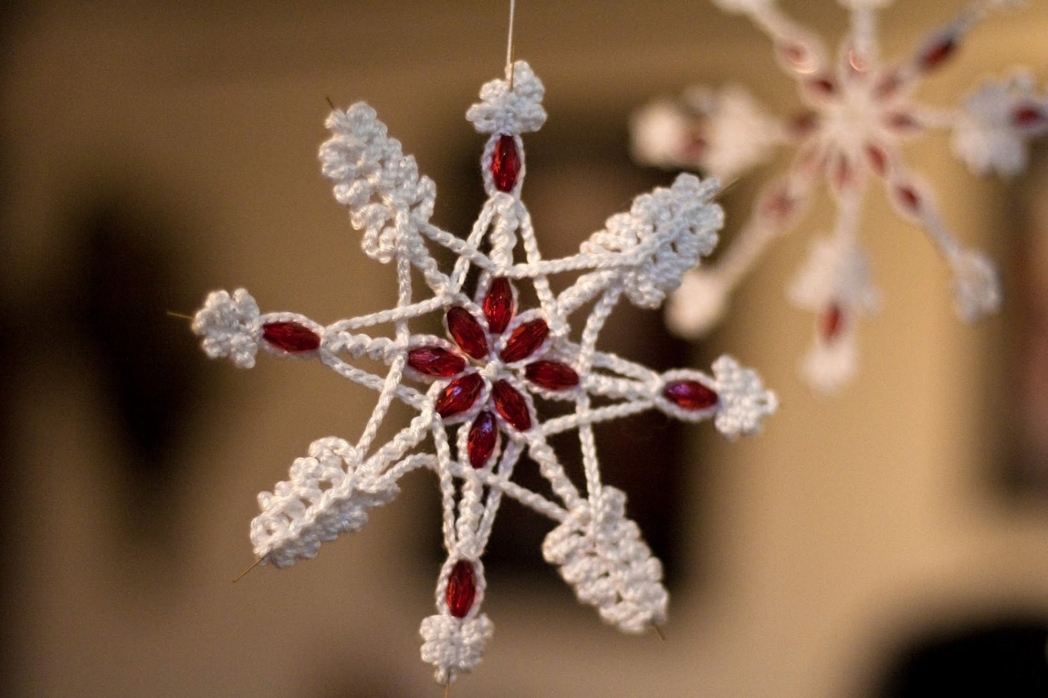 Christmas Snowflake with Red Crystal Beads Crocheted on Wire Star with Cotton Yarn designed by dodofit on Etsy
