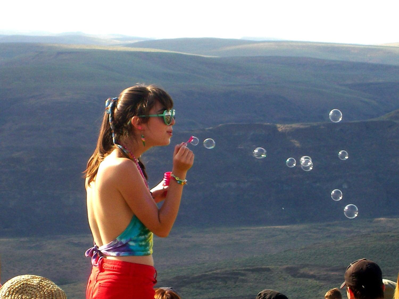 Girl Blowing Bubbles at Sasquatch Music Festival 2008 - 5x7 Digital Print