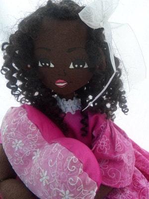 Handmade 00AK child black cloth doll 21 inches