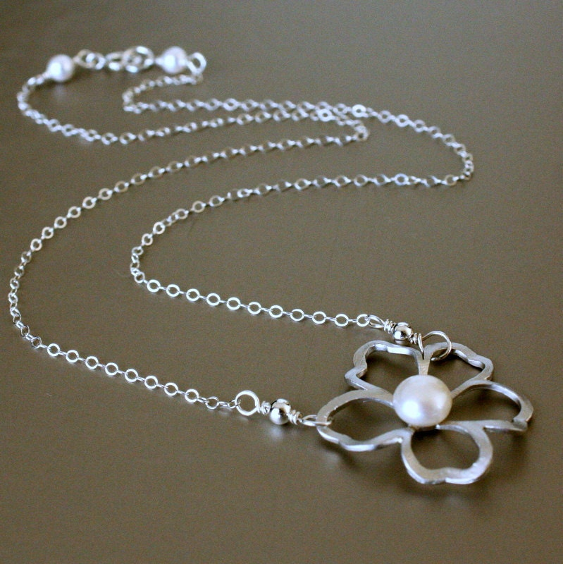 Silver Flower with Freshwater Pearl Necklace, Sterling Silver.