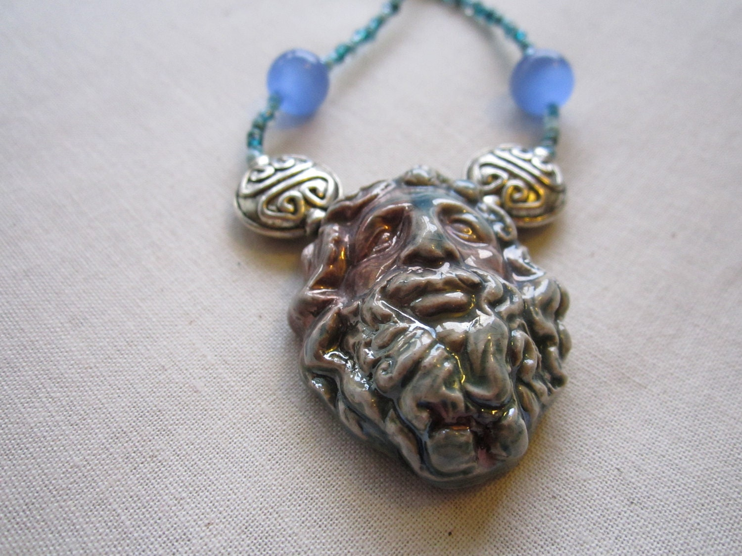 MIGHTY ZEUS GOD Ceramic Necklace 26 inches in length sale 10 percent off - ShaneLouisellArt