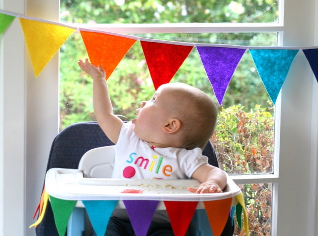 Felt Bunting Rainbow Birthday Bunting Banner Pennant Flag High Chair  Bunting and 24 Cupcake Flags Toppers Set - FeltLikeCelebrating