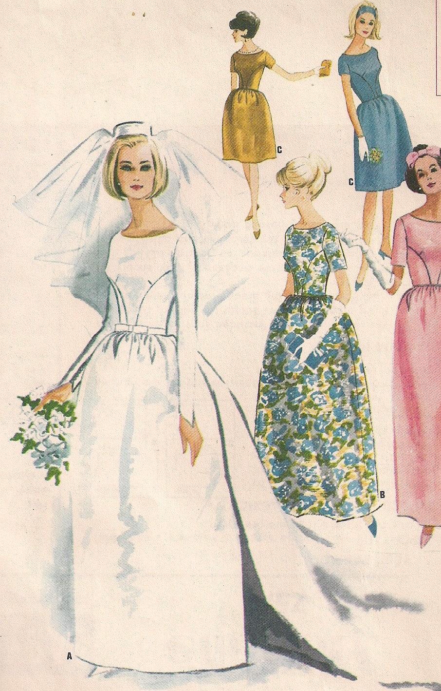 Vintage 60s Wedding Dress Pattern Detachable Train with Bell Skirt WEDDING