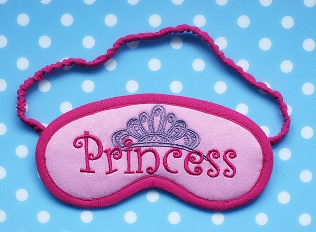 Pink Princess and Tiara VALENTINES Embroidered Sleep Mask