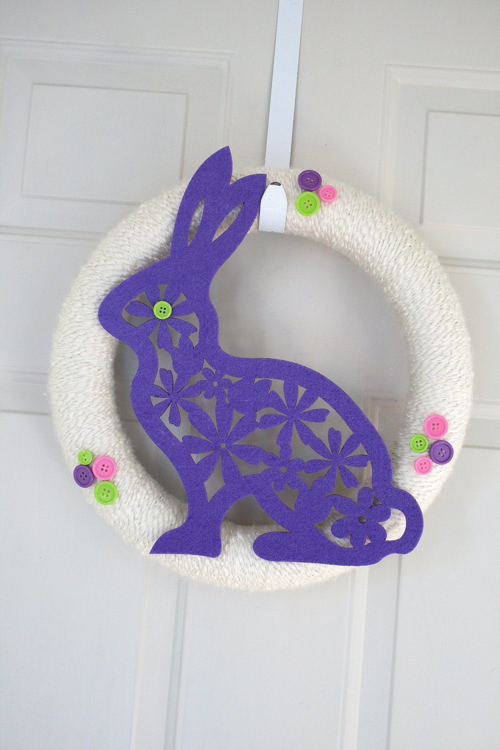 Easter yarn wrapped wreath bunny