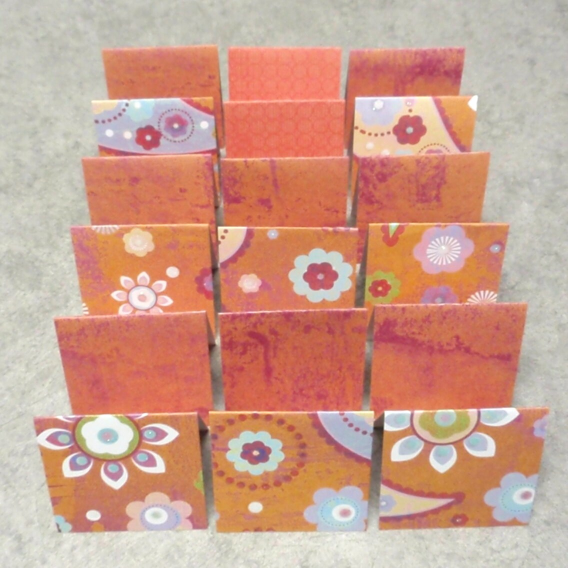 18 Mini Cards - blank for thank you notes - orange purple floral - ksewingbasket
