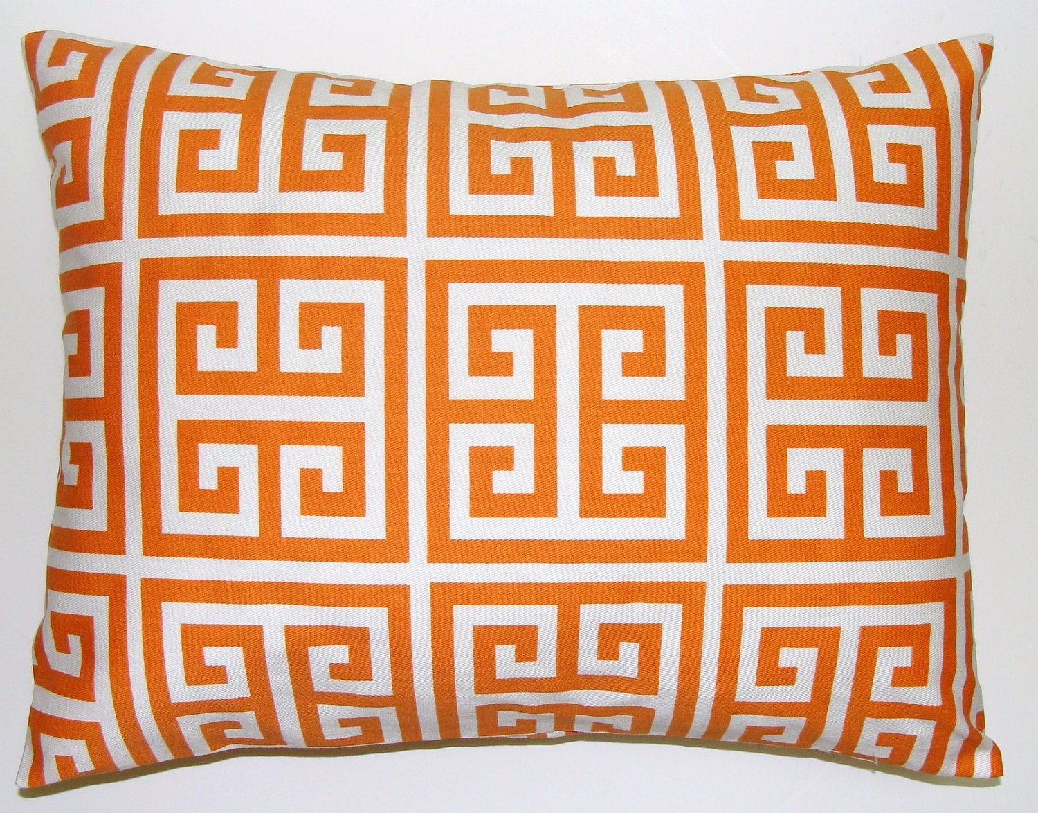 Tangarine Orange Pillow.Greek Key.16x20 or 12x20 inch Decorator Lumbar Pillow Cover.Printed Fabric Front and Back